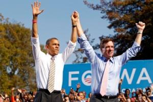 President Barack Obama with Virgina Senator Mark Warner.